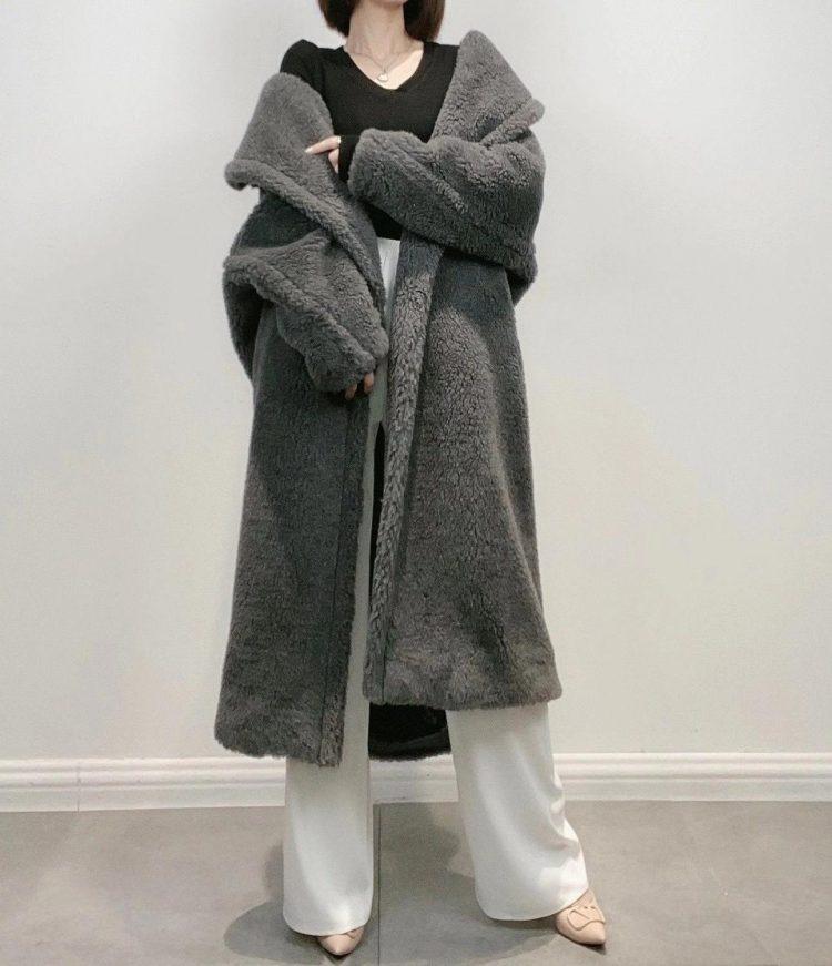 Obszerny grafitowy płaszcz wełniany zimowy z wełny z alpaki 1
