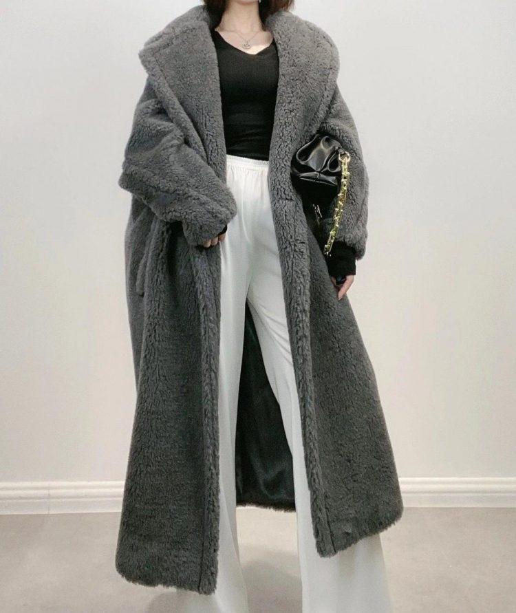 Obszerny grafitowy płaszcz wełniany zimowy z wełny z alpaki