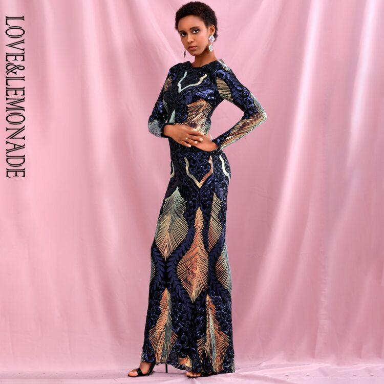 Patchworkowa sukienka maxi wieczorowa z głębokim dekoltem na plecach 1