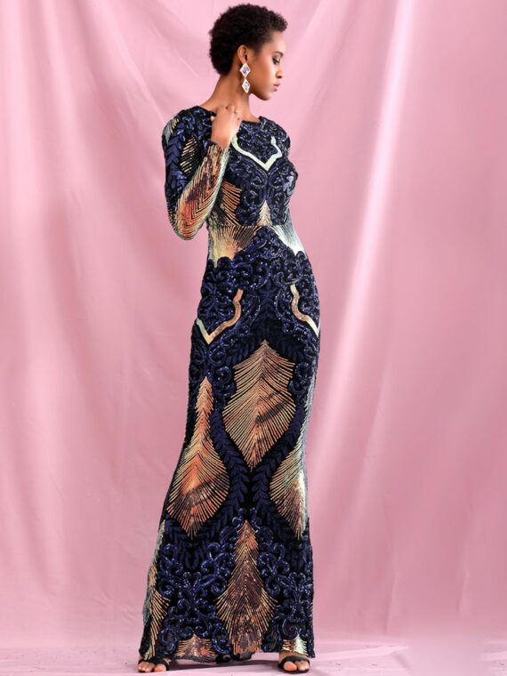 Patchworkowa sukienka maxi wieczorowa z głębokim dekoltem na plecach