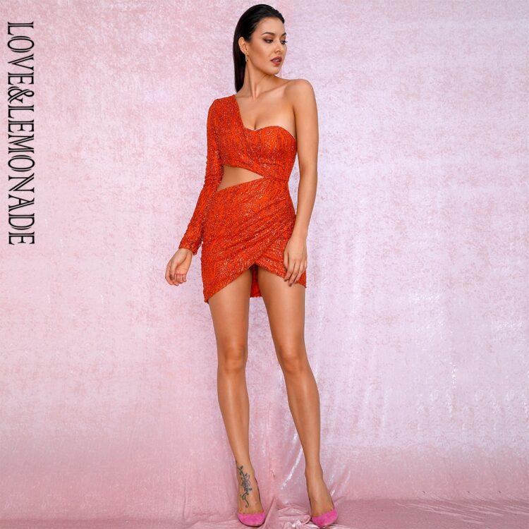 Pomarańczowa sukienka z wycięciami w talii na jedno ramię 1