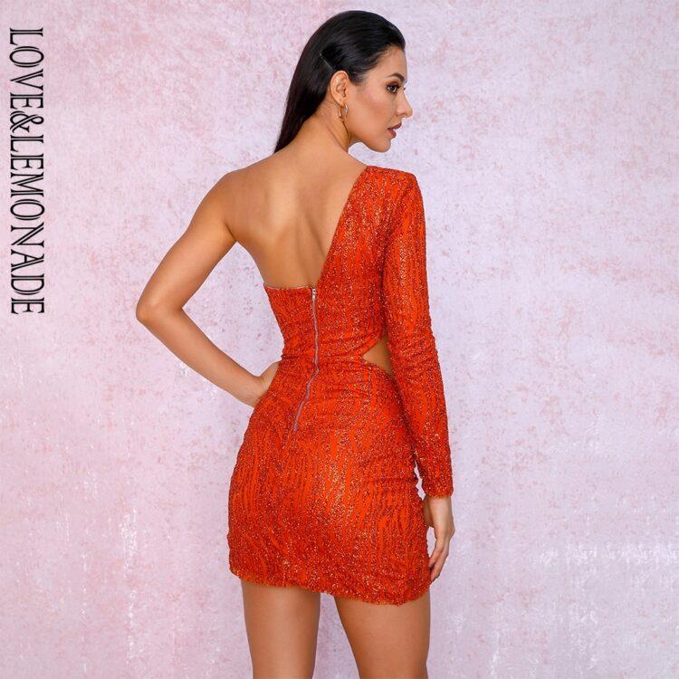 Pomarańczowa sukienka z wycięciami w talii na jedno ramię 2