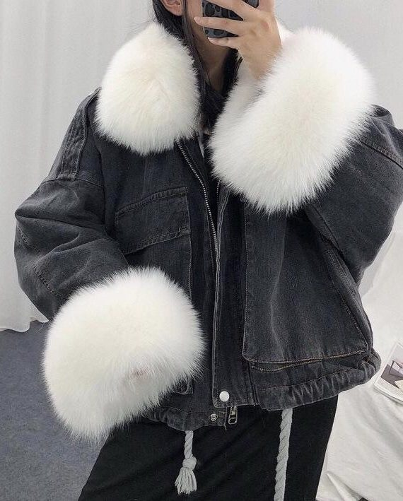 Sprany czarny kurtka jeansowa z białym futerkiem damska
