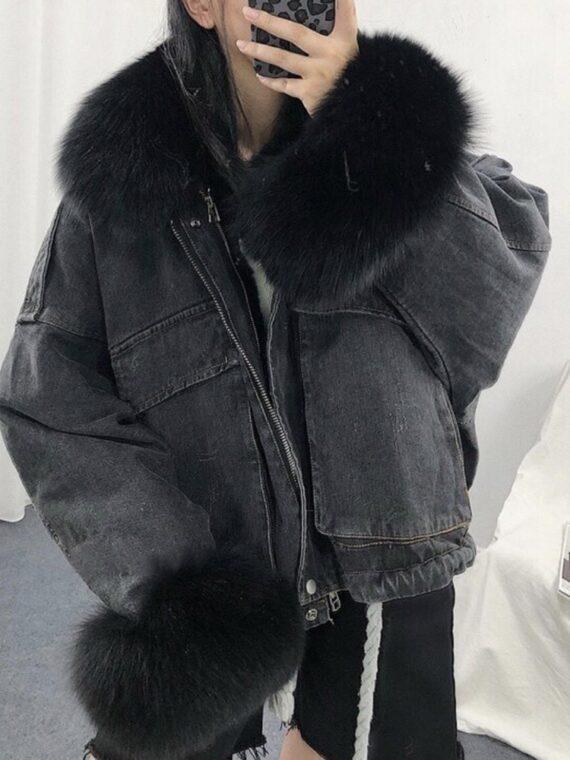 Sprany czarny kurtka jeansowa z czarnym futerkiem damska