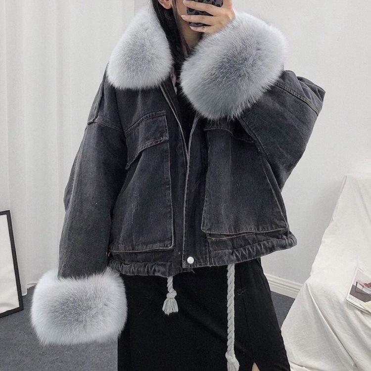 Sprany czarny kurtka jeansowa z szarym futerkiem damska