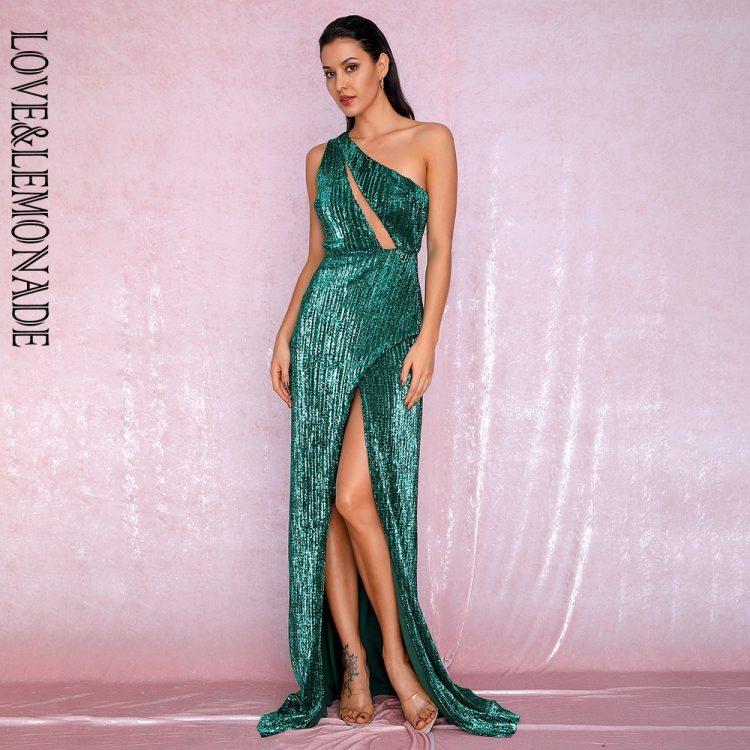 Szmaragdowa długa sukienka wieczorowa na jedno ramię 1
