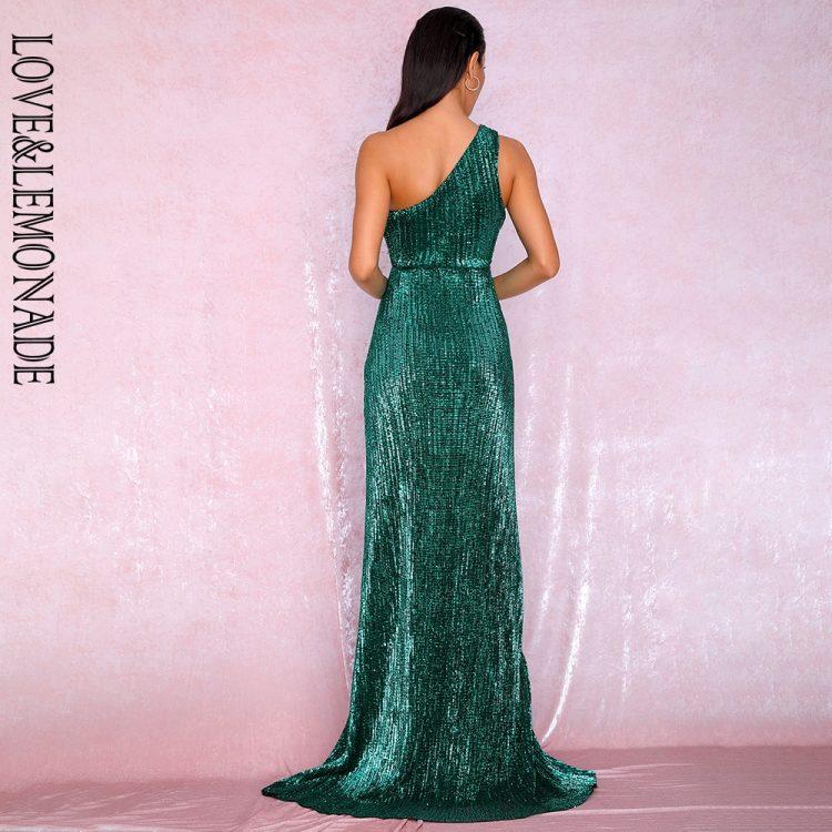 Szmaragdowa długa sukienka wieczorowa na jedno ramię 2