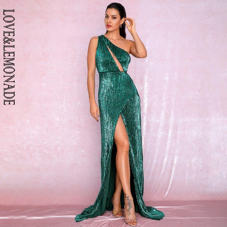 Szmaragdowa długa sukienka wieczorowa na jedno ramię