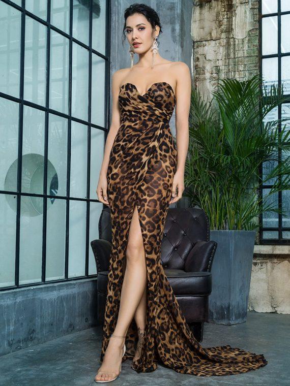 Szyfonowa wieczorowa długa sukienka w brązową panterkę