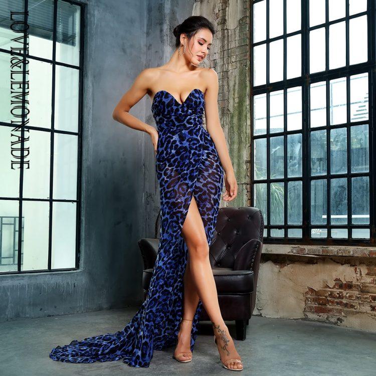 Szyfonowa wieczorowa długa sukienka w niebieską panterkę 1