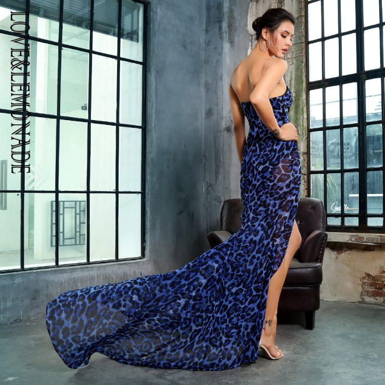 Szyfonowa wieczorowa długa sukienka w niebieską panterkę 2