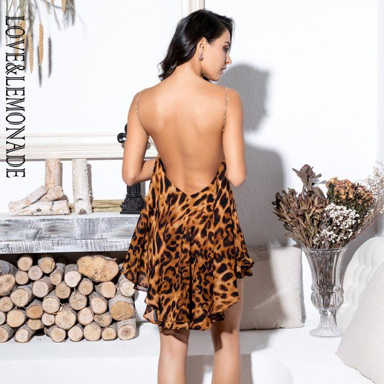 Warstwowa mini sukienka w panterkę na ramiączkach z łańcuszków 2