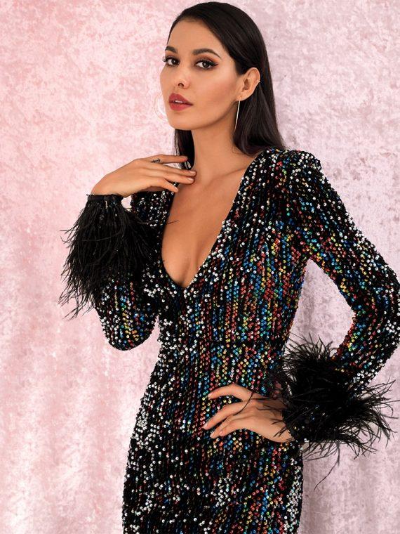 Wielokolorowa sukienka maxi wieczorowa z długim rękawem z piórami