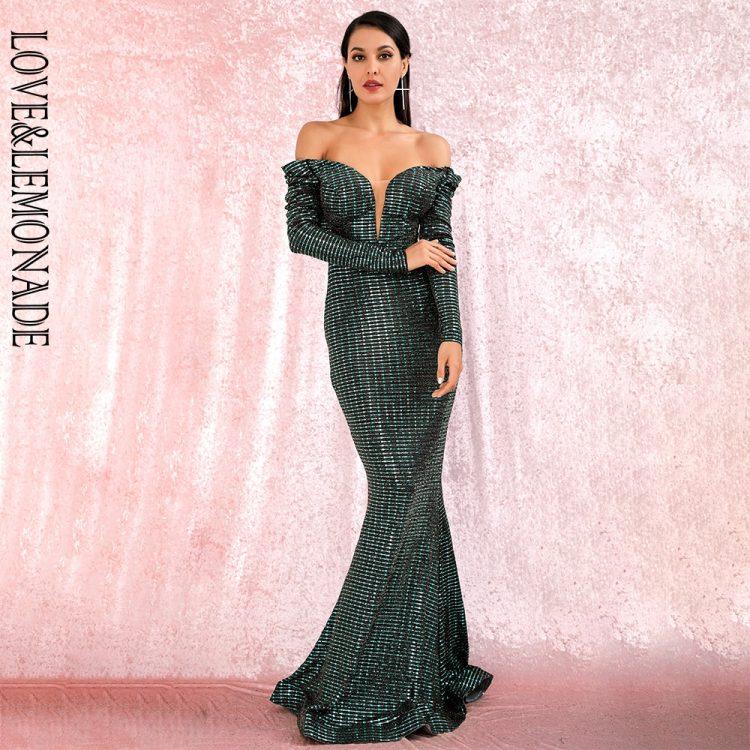 Zielona długa sukienka wieczorowa rybka z głębokim dekoltem 1