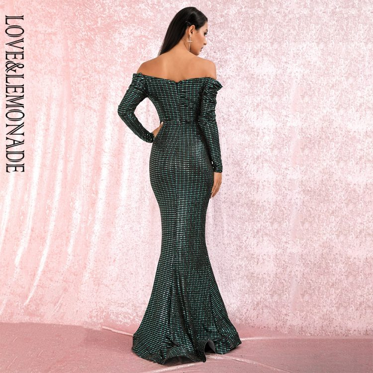 Zielona długa sukienka wieczorowa rybka z głębokim dekoltem 2