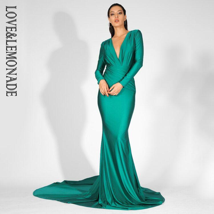 Zielona wieczorowa sukienka elastyczna dopasowana kopertowa 1