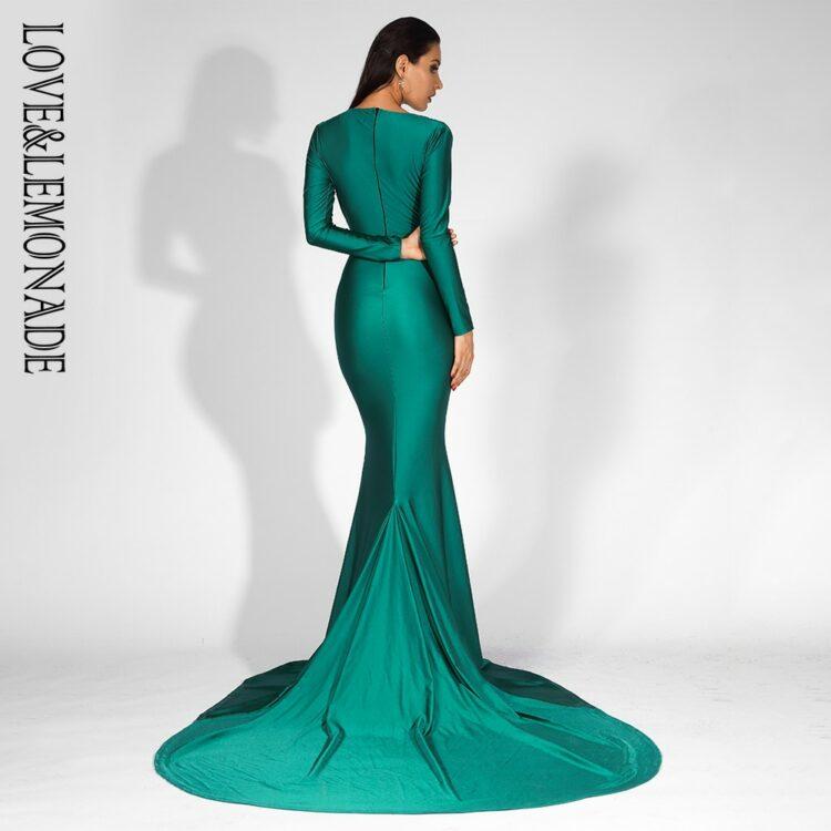 Zielona wieczorowa sukienka elastyczna dopasowana kopertowa 2