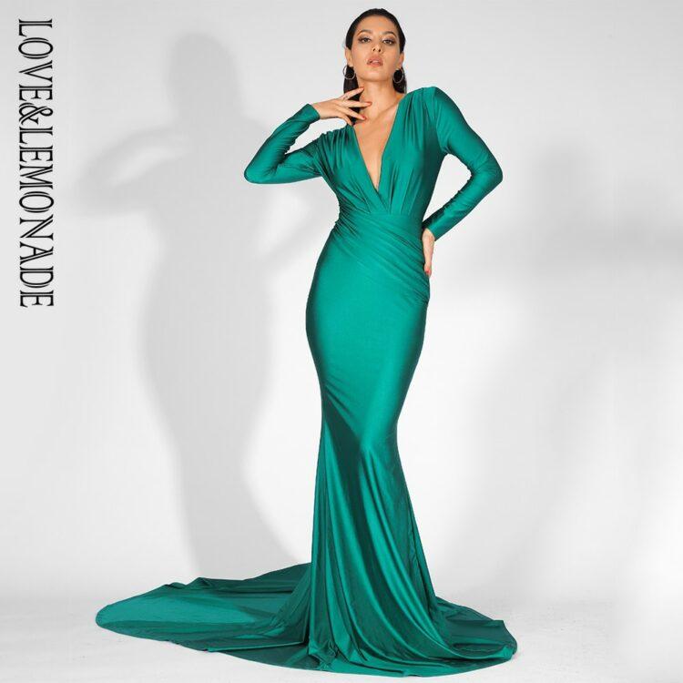 Zielona wieczorowa sukienka elastyczna dopasowana kopertowa