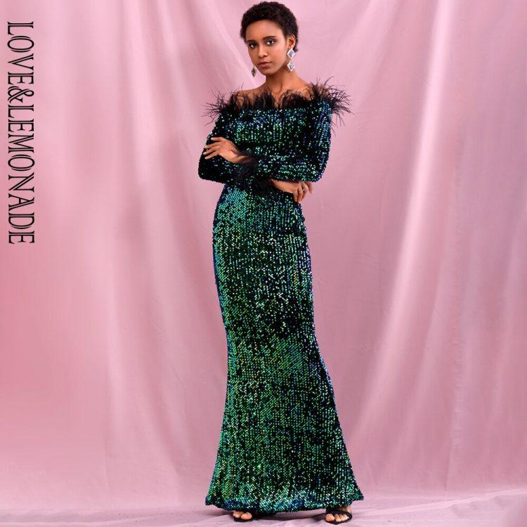Zielonkawa sukienka maxi wieczorowa z piórami na dekolcie 1