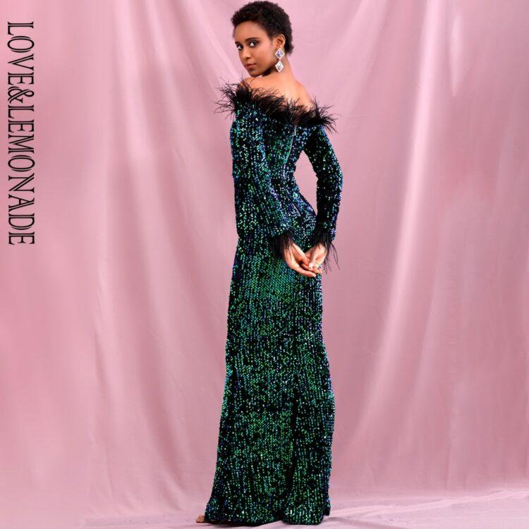 Zielonkawa sukienka maxi wieczorowa z piórami na dekolcie 2