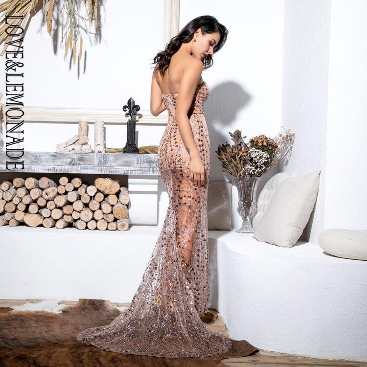 Złota sukienka maxi wieczorowa z tiulowym dołem i cekinami 2