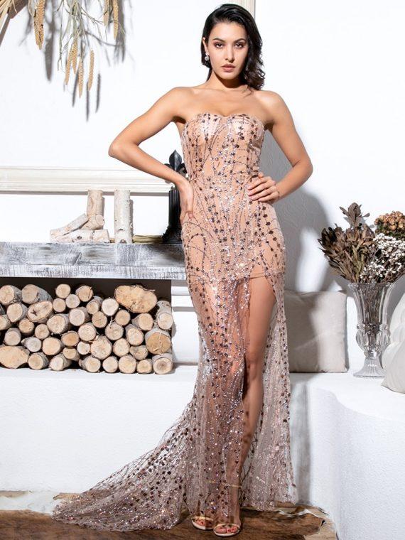 Złota sukienka maxi wieczorowa z tiulowym dołem i cekinami