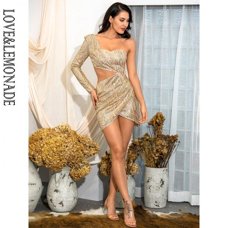 Złota sukienka z wycięciami w talii na jedno ramię 1