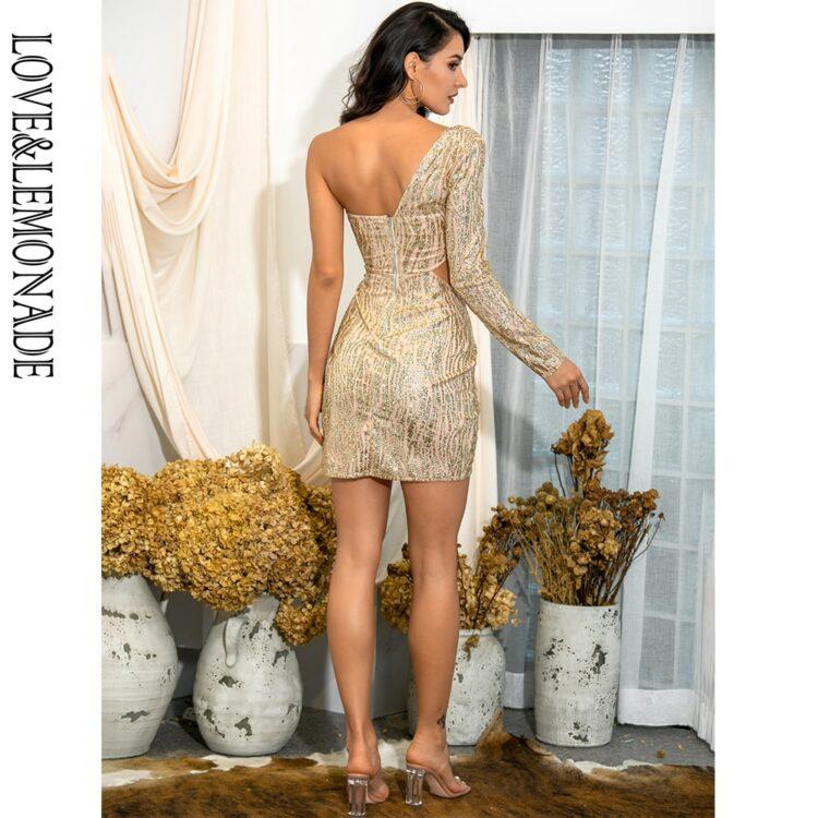Złota sukienka z wycięciami w talii na jedno ramię 2