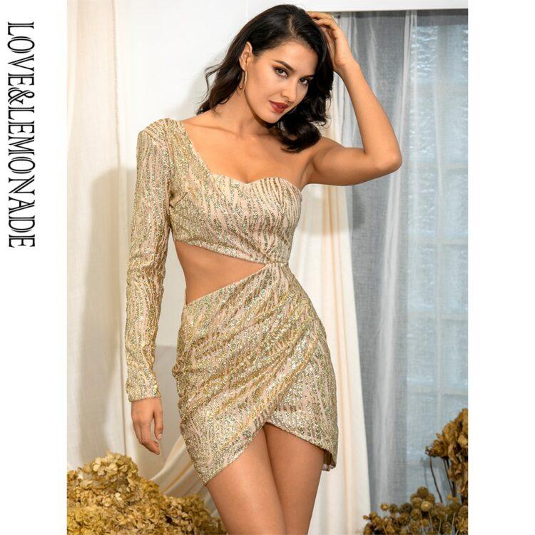 Złota sukienka z wycięciami w talii na jedno ramię