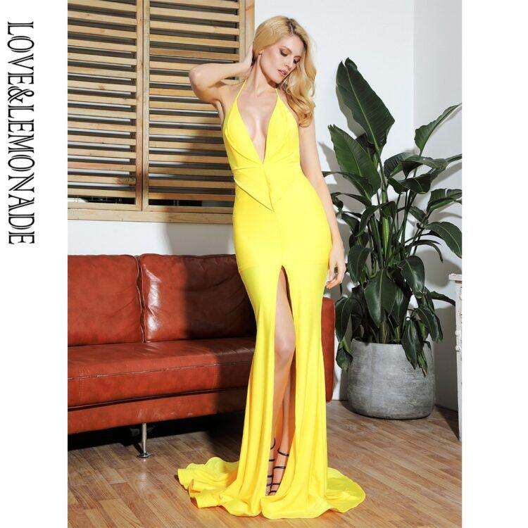 Żółta sukienka rybka wieczorowa z głębokim dekoltem 1
