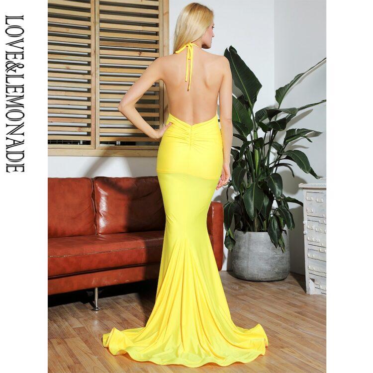 Żółta sukienka rybka wieczorowa z głębokim dekoltem 2