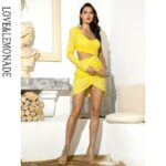 Żółta sukienka z wycięciami w talii na jedno ramię 1