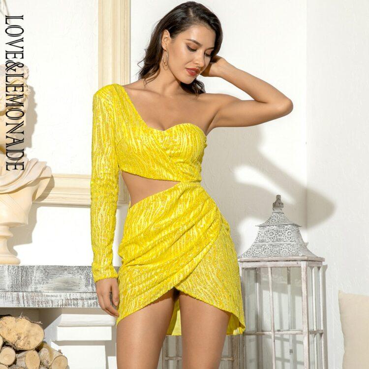 Żółta sukienka z wycięciami w talii na jedno ramię