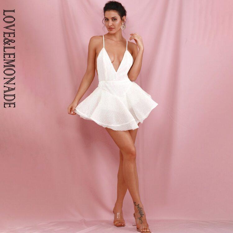 Biała sukienka rozkloszowana z tiulową halką mini 1