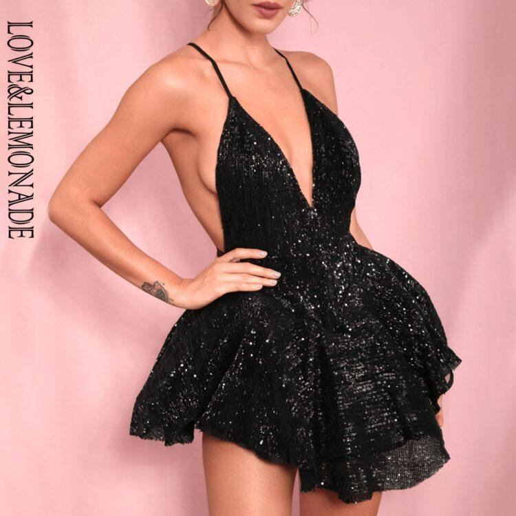 Czarna sukienka rozkloszowana z tiulową halką mini 1