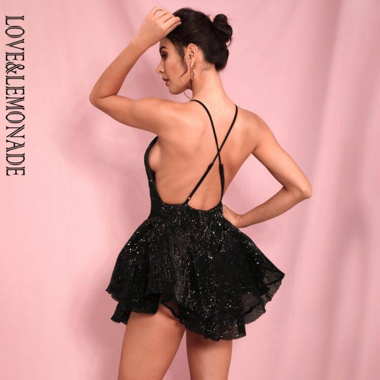 Czarna sukienka rozkloszowana z tiulową halką mini 3