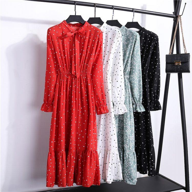 Elegancka czerwona sukienka midi z wiązaniem pod szyją 1