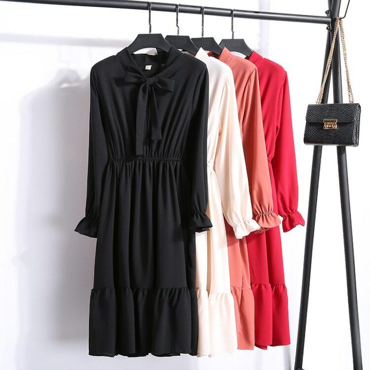 Elegancka czerwona sukienka midi z wiązaniem pod szyją 2
