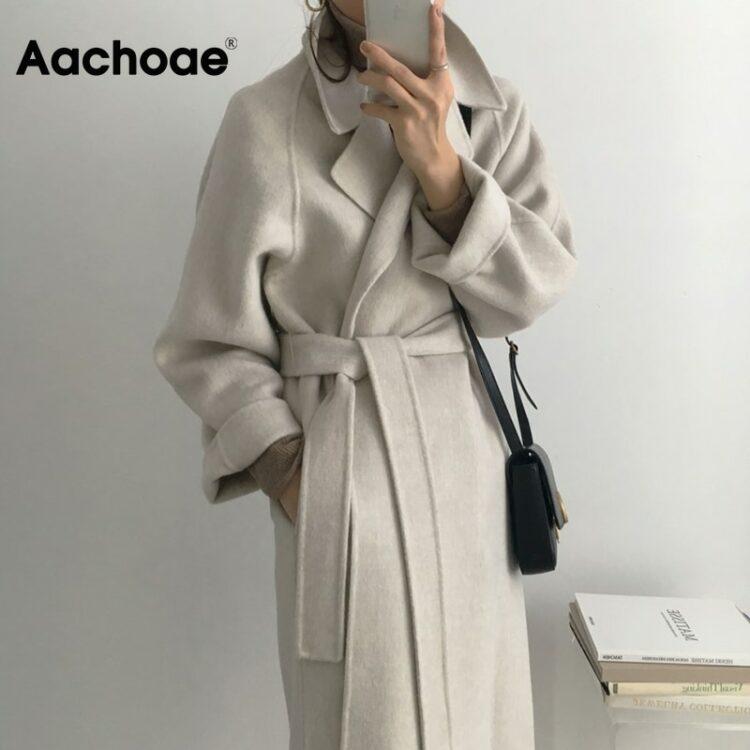 Kobiecy elegancki długi płaszcz wełniany z paskiem 1