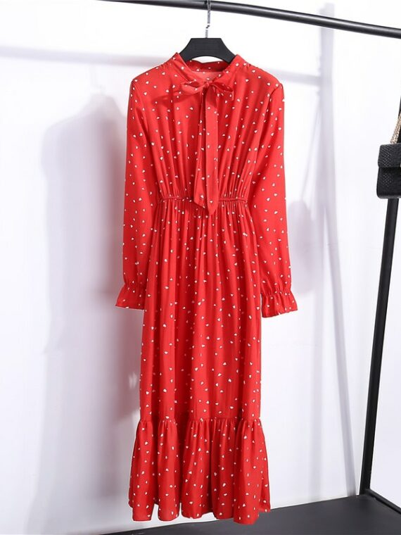 Midi sukienka czerwona z wiązaniem pod szyją do pracy