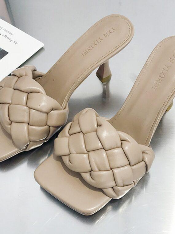 Mocca klapki plecione na szpilce pikowane buty