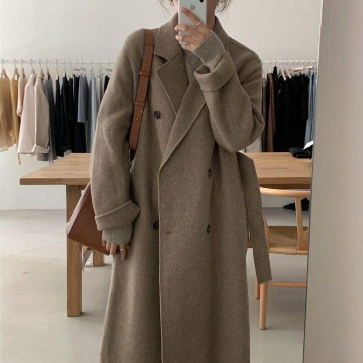 Brązowy płaszcz damski wełniany długi dwurzędowy 1