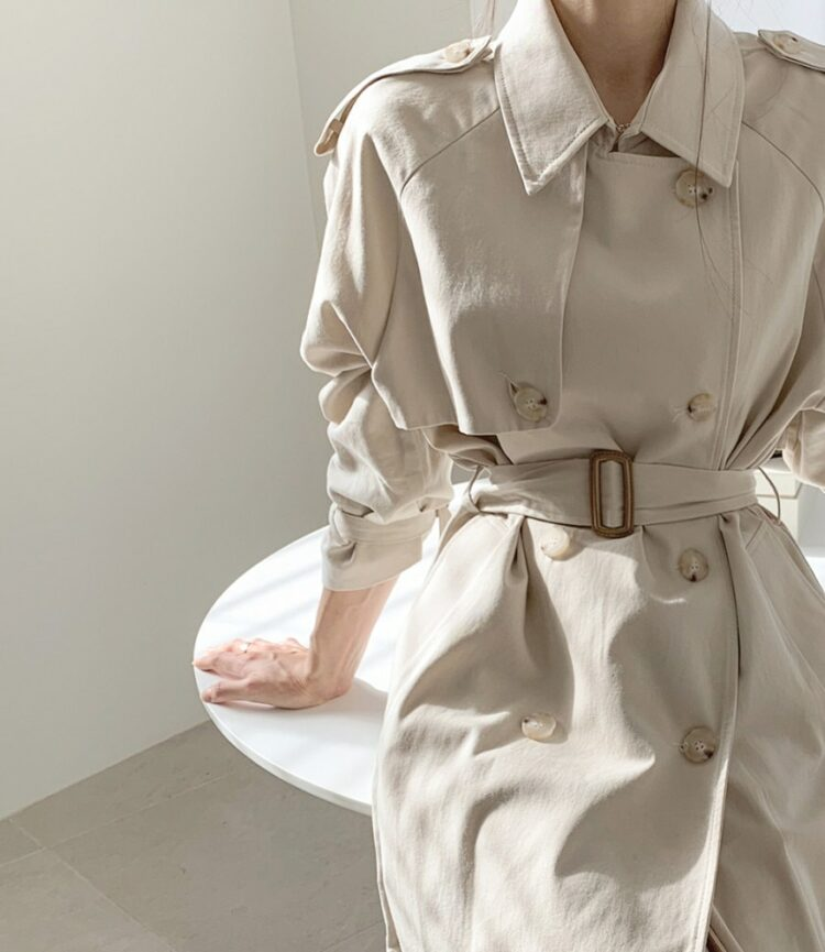 Casualowy beżowy płaszcz wiosenny trencz długi 1