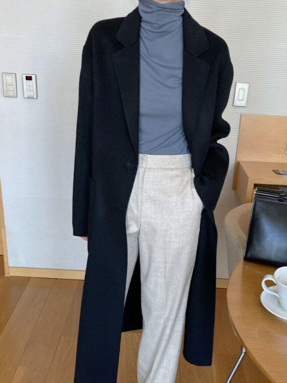 Długi czarny płaszcz damski wełniany z paskiem