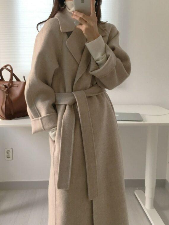 Długi płaszcz karmelowy damski wełniany z paskiem