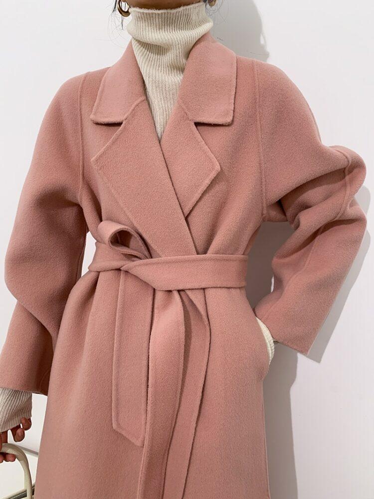 Elegancki długi płaszcz zimowy wełniany damski różowy 1