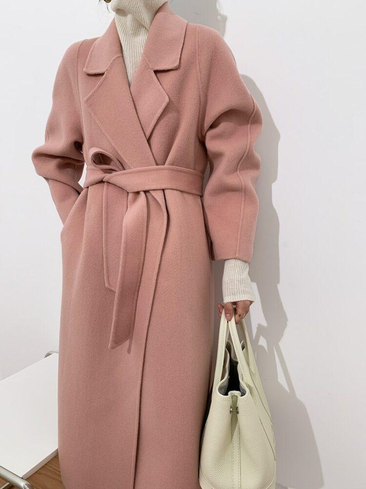 Elegancki długi płaszcz zimowy wełniany damski różowy 2