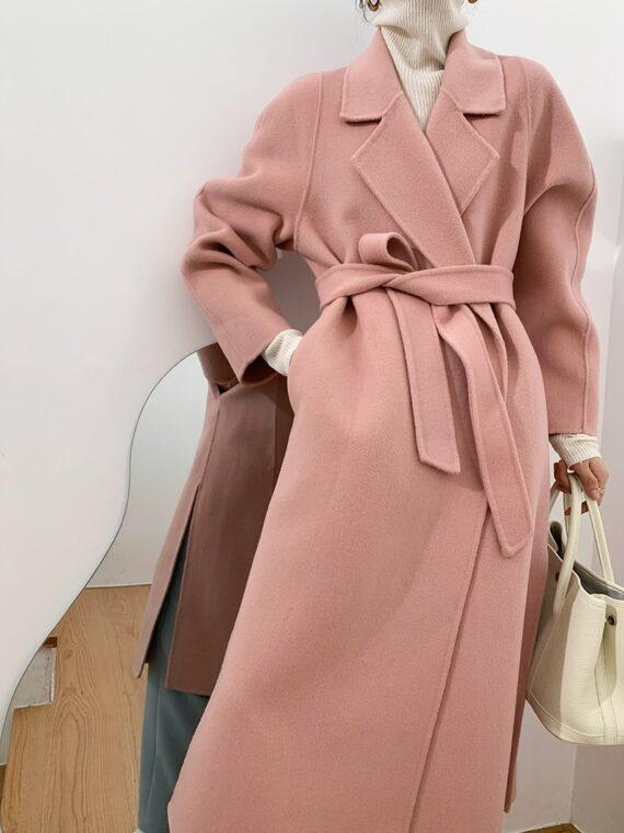 Elegancki długi płaszcz zimowy wełniany damski różowy