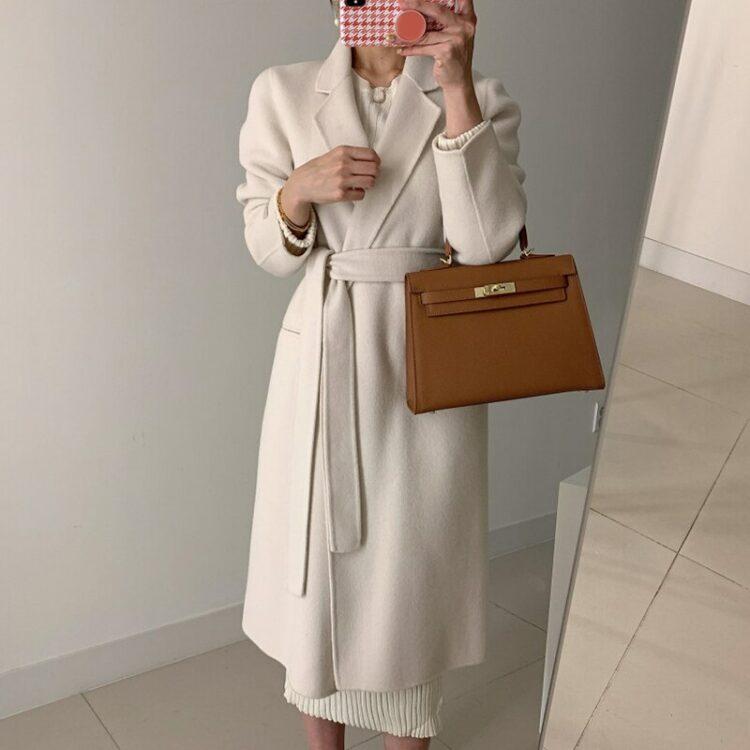Elegancki płaszcz damski wełniany elegancki kremowy 1