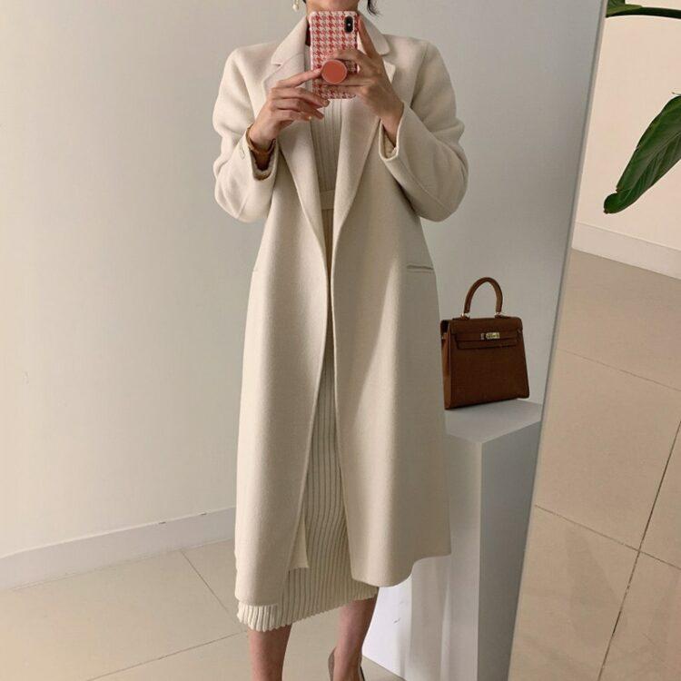 Elegancki płaszcz damski wełniany elegancki kremowy 2